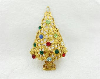 MY LU Colorful   Rhinestone Christmas Tree  Brooch Festive Holiday Gift