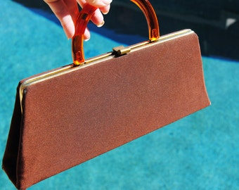 Vintage 1960's Chocolate Brown Purse with Hide-a-way Handle