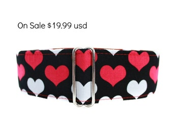 Valentine Martingale Collar, Greyhound Martingale Collar, Valentine Dog Collar, Valentine Hearts, Red Hearts Dog Collar, Hearts Martingale