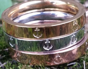 Anchor Ring, Rose Silver Gold Ring, Anchor Jewelry, Nautical Ring, Gift For Her, Stack Ring, Preppy Prep Prepster Style, Beach Sea Ocean