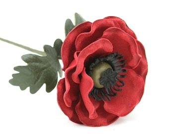 Leather Flower Suede Flower Red Leather Poppy Anemone  Third Wedding Anniversary Gift Long Stem Flower 3rd Leather Anniversary Mother's Day