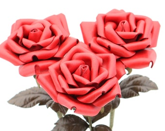 Red leather rose bouquet  Wedding/3rd Anniversary Gift Long Stem Flower 3rd Leather Anniversary Mother's Day Prom