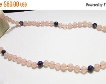 """On Sale intage Estate Hand Knotted Silver Gold Overlay Filigree Clasp 28"""" inch Rose Quartz with Chinese Cloisonne Bead Accents Necklace"""