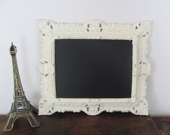 Ornate Framed Chalkboard, Antique White Chalkboard, Vintatge Wedding Chalkboard, Message Board, Photo Prop