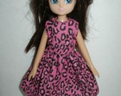 """Handmade 7"""" doll clothes for Lottie - pink and black animal print dress"""