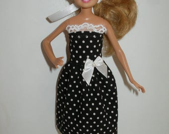 "Handmade 9"" little sister fashion doll clothes - blck and white polka dot"