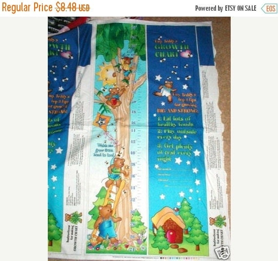 Kids teddy bear growth chart fabric panel by for Children s fabric panels
