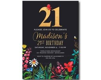 St Birthday Invitation Floral St Birthday Invite St - 21st birthday invitations gold coast