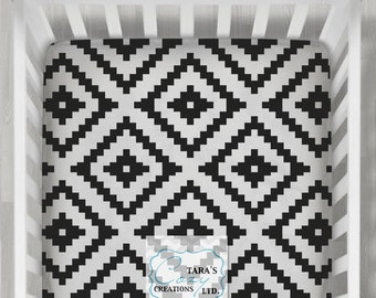 Black Aztec MINKY Crib Sheet- Designer Minky Crib Sheet - Designer Print Change Pad Cover -Minky Aztec Crib Sheet- Black White Aztec Boppy-