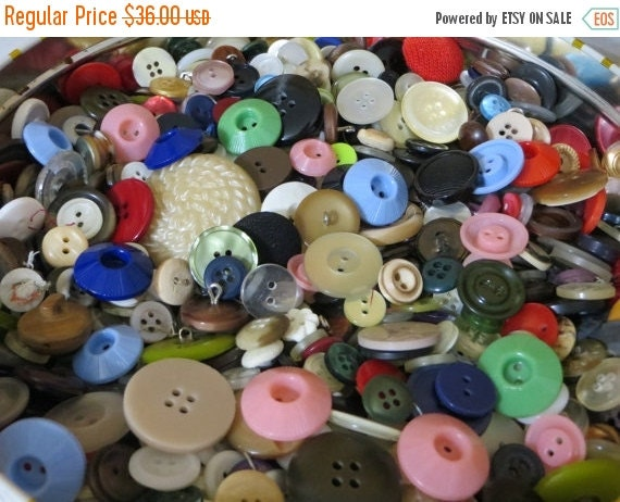 ON SALE Vintage Buttons-Giant 3Pound Lot-Glass-MOP-Bakelite-Celluloid-Metal-and so Much More