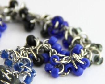 Black Blue Cluster Bracelet - Beaded Striped Black Gray Royal Blue Cobalt Modern Colorblock Bracelet