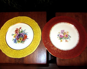 2 Vintage Steubenville China Yellow and Red Dinner Plates 10.5