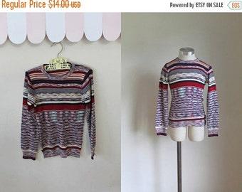 SHOP SALE vintage 1970s child's sweater - AUTUMN Sunset space dye knit top / 7yr