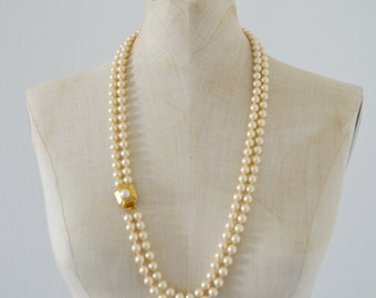 Vintage Chuncky MONET Pearl Gold Tone Triple Strand Large Choker Necklace Wedding