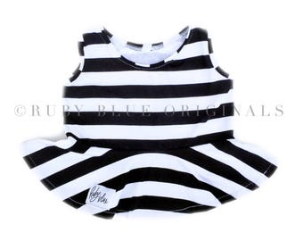 Peplum Top in Chunky Black and White Stripe with Crop Top Option