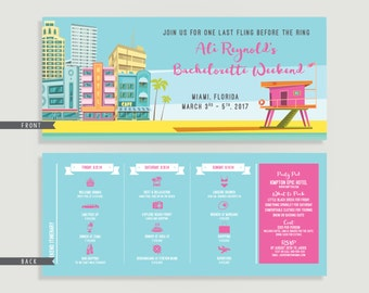 Miami Bachelorette Invitation with Itinerary - Miami Beach - Bachelorette Bash - Personalized Printable File or Print Package -  #00210-PI10