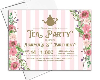 Tea party birthday invitations, second 2nd birthday invitations girls, two 2 year old birthday girl invites, printable or printed - WLP00311