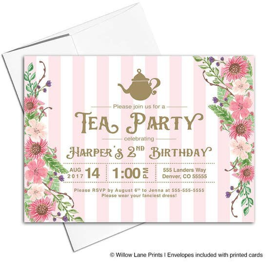 Tea party birthday invitations second 2nd birthday invitations il570xn filmwisefo