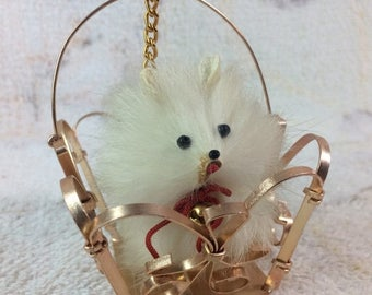 10% OFF Vintage Real Fur Mini Dog in Wire Basket Adorable Figurine Rabbit Fur Cute Animal