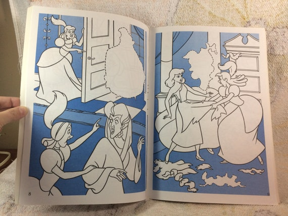 HOLIDAY SALE 1993 Disney Cinderella Princess Giant Sticker Fun And Coloring Book 90s Kids Books Activity