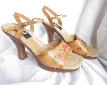 LEI Leather 70s Tooled Leather Heels