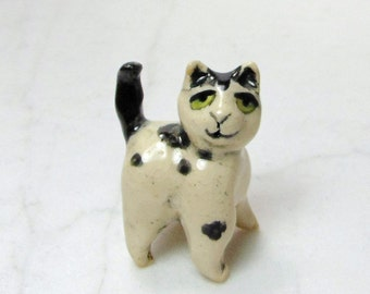 Kitten Terrarium Miniature - Black and White Cat - Miniature Figurine - Terrarium Miniature - Cat Mini - Spotted Cat - Kitten Figurine