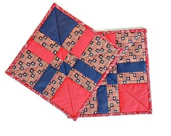 """Quilted Handmade Pot Holders / Hot Pads / Trivets / Mug Rugs / Candle Mats – 9-1/2"""" x 9-1/2"""" - Set of 2 – Shades of Red, White & Blue"""