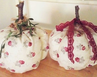 Decorated Fabric Pumpkins, Set of 2, Roses on Ivory, Wine Colors, Real Stems, Jute, Ribbon, and Leaf Vine Toppings