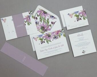 Modern Rustic Lilac Floral Wedding Invitations,Rustic Boho Floral Wedding Invite,Modern Floral Wedding Invitation,Boho Purple Floral Wedding