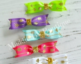 CLOSING SALE 5 pack Gold foil Arrow hair bow tie bows-hot pink, aqua, white, lime green, & purple GOLD Arrow bows- by Maddie B's Boutique on