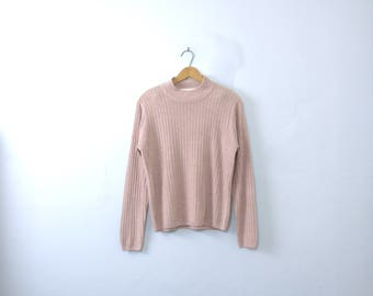 Vintage 90's light pink sweater, mock turtleneck ribbed knit, size medium