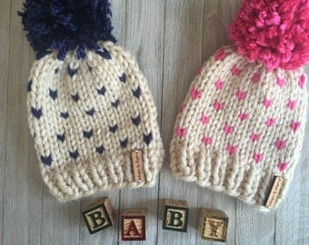 Knitted Baby Hats /Chunky Knit Fair-Isle Hat / Hand Knitted Baby Hat / Knitted Toddler Hat / Kids Winter Hat / Knitted Baby Hats
