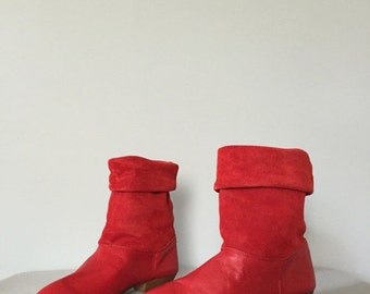 30% OFF SALE... lipstick red leather and suede boots | foldover pirate boots | 6.5