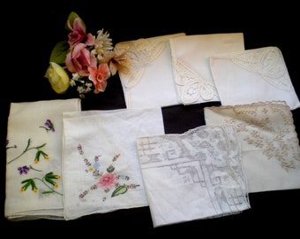 Seven Vintage Hankies**So Pretty and Feminine**