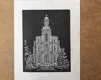 Logan LDS Temple Original Linocut Print