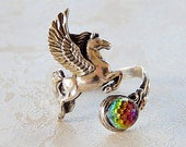 Sterling Silver Pegasus Ring with Crystal Stone, Vintage Mystical Ring, Flying Horse Ring, Gift for Her