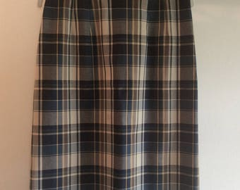 Blue Plaid Pencil Skirt 1970s Vintage
