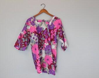 Vintage 60s Purple Pink and Fusshia Smock Art Smock Apron