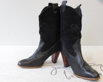 vintage black Cowboy style Boots women Booties