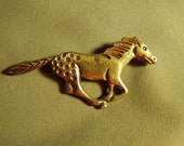 Vintage Sterling Silver Native American Galloping Horse Pin Signed AM  8820