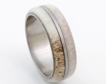 antler ring antler wedding band titanium wedding ring mens wedding band deer antler titanium ring