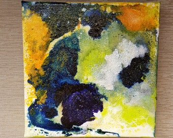 Last Location - mixed media painting, abstract, mixie, by Shelli Finch of StressArt