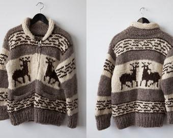 Vintage  Cowichan Brown Wool Heavy Hand Knit Sweater Cardigan Coat Traditional Winter Nordic Canadian Deer