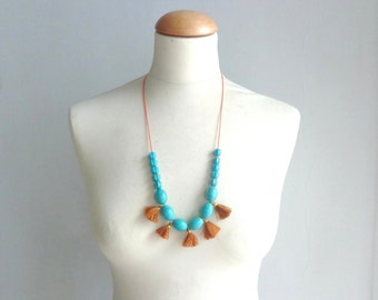 Tassel necklace, Turquoise mustard necklace, fan gemstone necklace