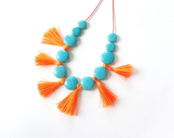 Tassel necklace, Turquoise orange necklace, fan gemstone necklace, boho turquoise orange necklace