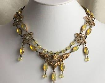Sabrina Yellow Rhinestone and Citrine Glass Edwardian or Renaissance Style Necklace
