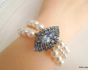 Pearl Bridal bracelet, wedding rhinestone bracelet, ivory pearl bridal bracelet, wedding crystal bracelet, something blue bracelet, DELIA