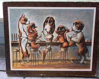 Vintage MIREE Dogs Art picture Dogs at the Bar Bartender on Corkboard backing