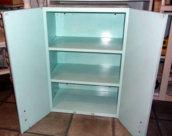 Vintage Hanging Metal Cabinet with 2 doors and 3 shelves painted a light turquoise sea foam green