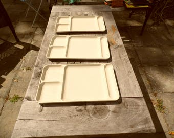 Tupperware trays lot of 3 vintage Tupperware divided lunch trays, TV trays, white trays 15 x 9""